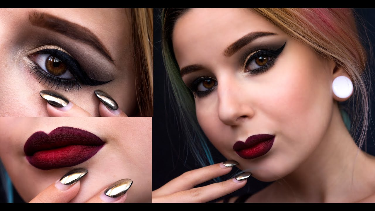 dramatic makeup red ombre lips amp black eyeliner urban