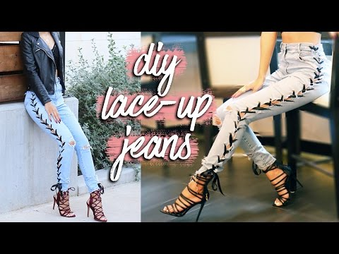 DIY | Distressed Jeans + Lace Up Sides | Thrift Revamp
