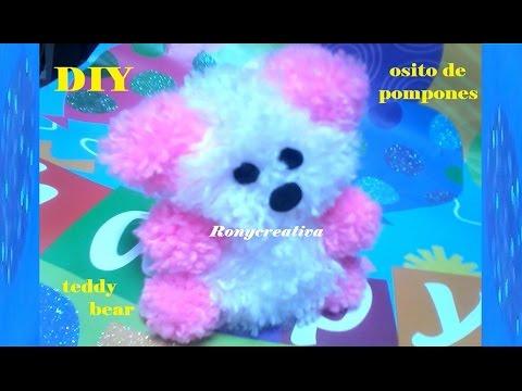 Diy craft pom pom teddy bear ronycreativa english for Diy crafts youtube channels