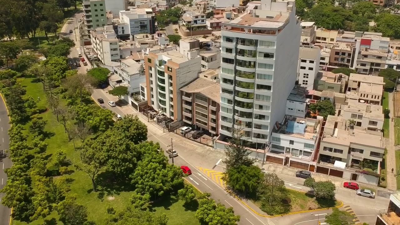 Aerial Video of the Popular District of San Borja and part of San Isidro,  Lima, Peru