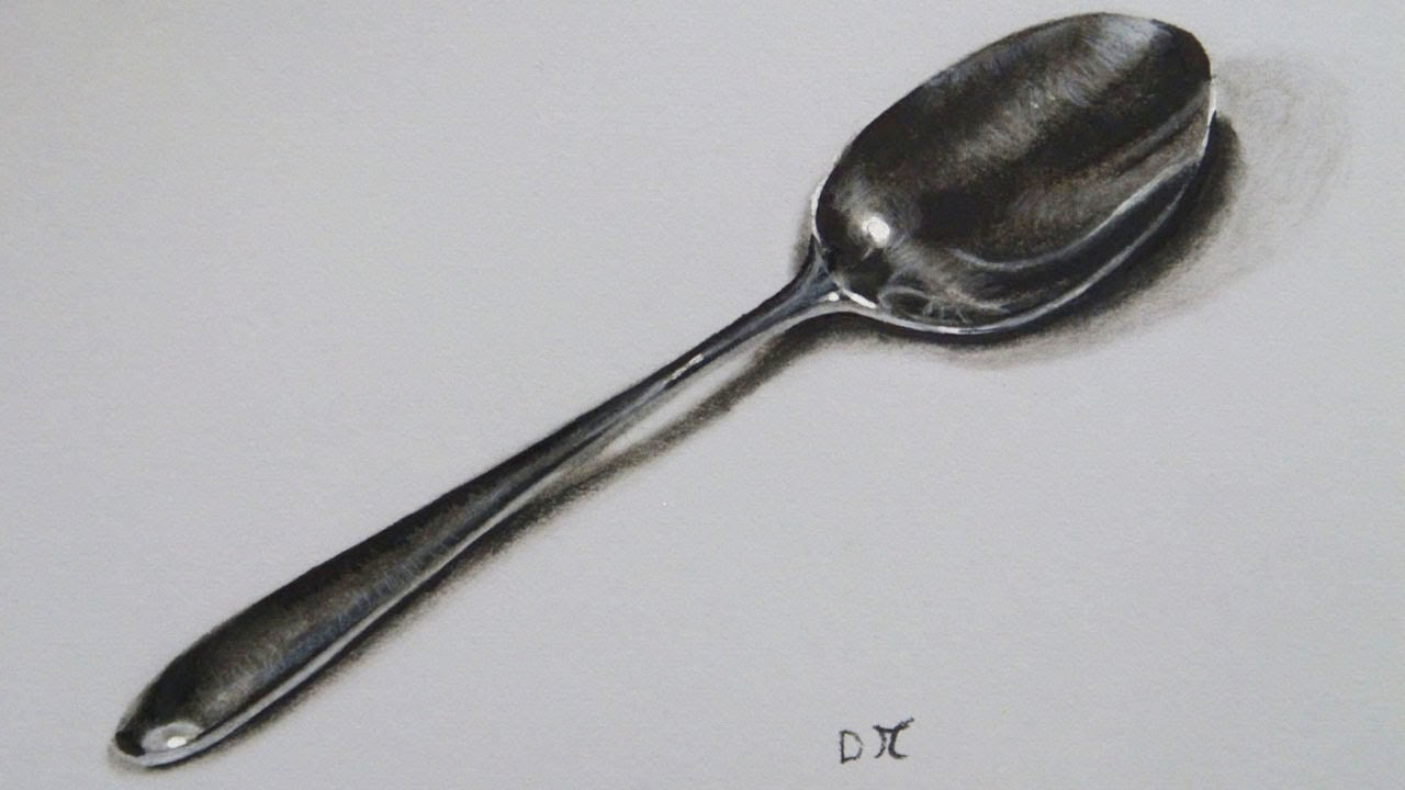 Realistic Spoon Drawing, Time lapse - YouTube