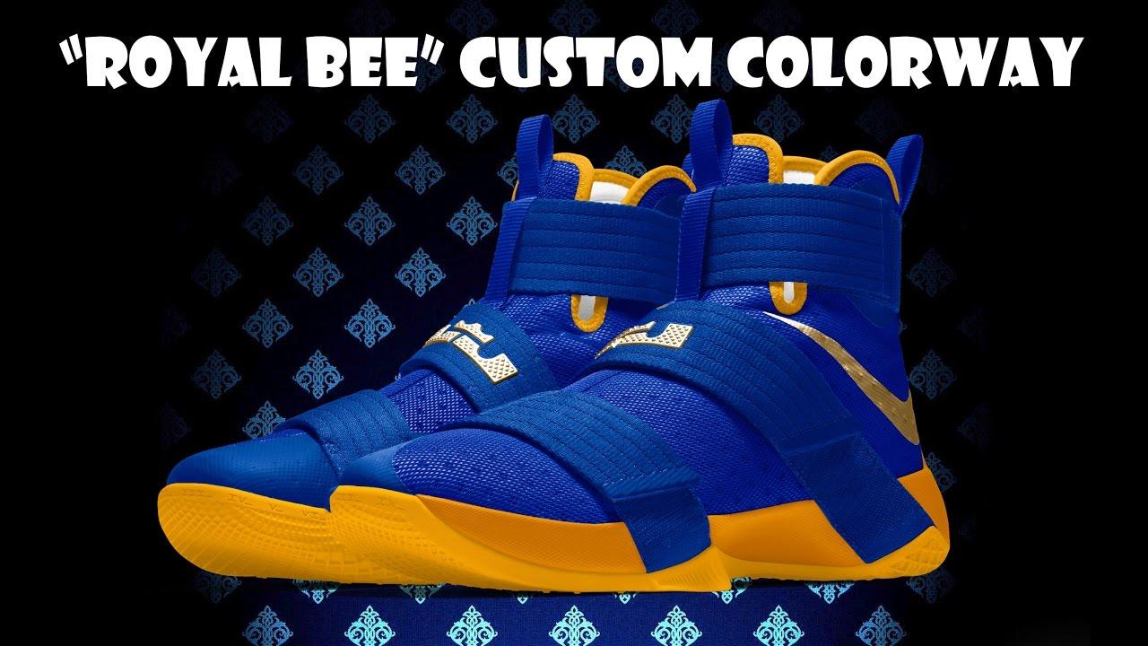 185464e7b8c ... canada nike zoom lebron soldier 10 id royal bee custom colorway f21b4  567f4