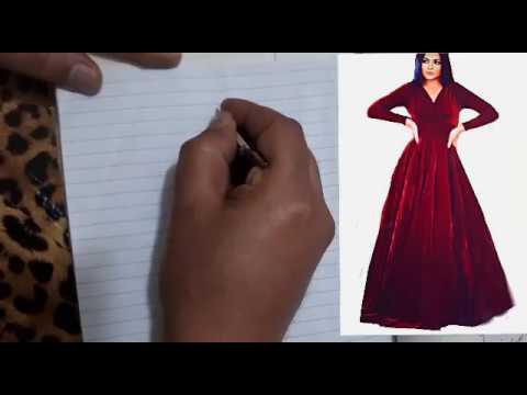 d5b565d16a5c2 شرح فصال فستان قطيفة دبل كلوش الجزء الأول - YouTube