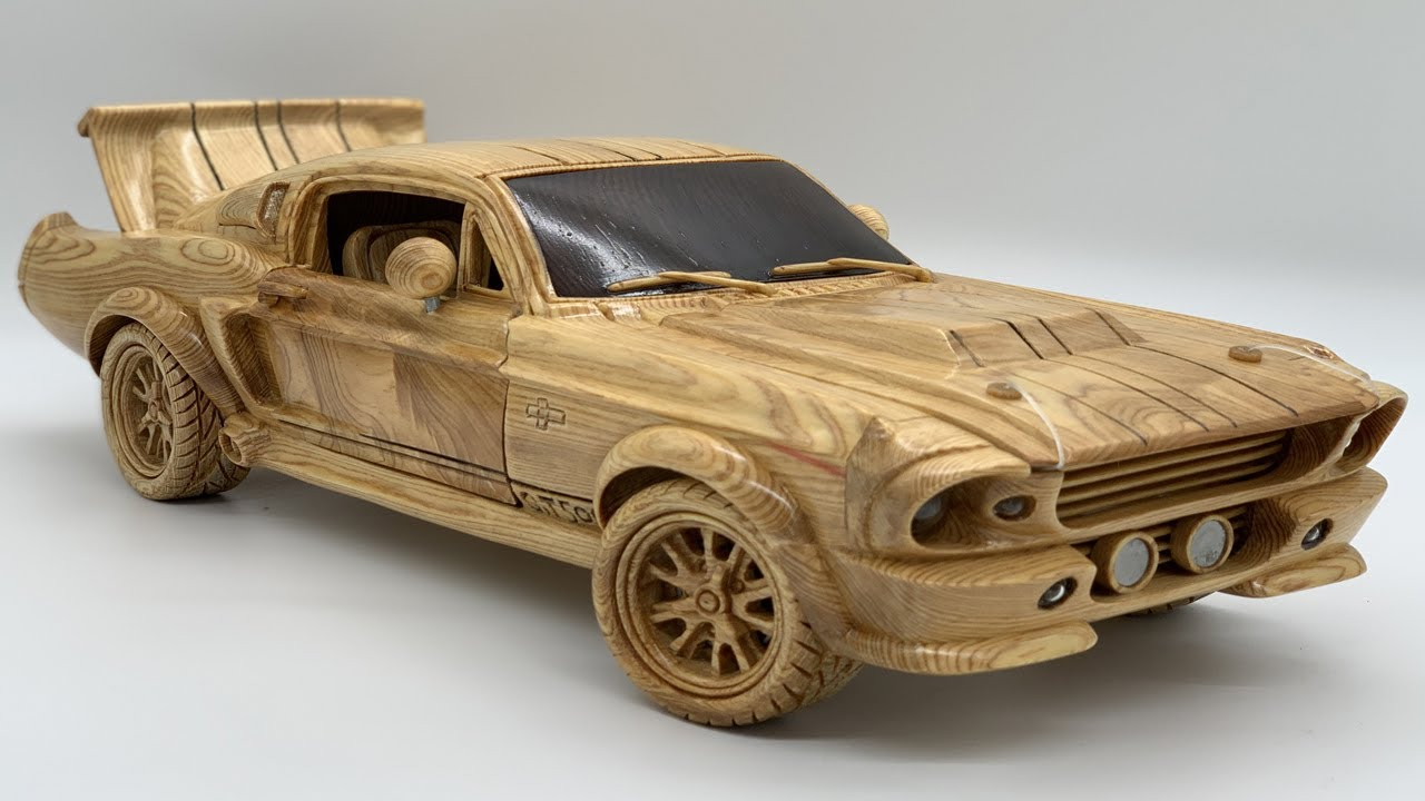 Wood Carving - Classic Ford Mustang GT500 - Woodworking Art