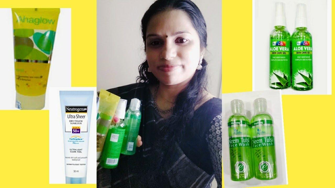 Skin Care Products Review Apollo Aloevera Gel Apollo Face Wash Neutrogena Sunscreen Ahaglow Youtube