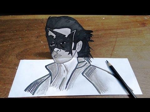 How To Draw Super Hero Krish In 3D - Hrithik Roshan