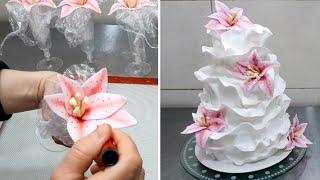 Güzel Fondan Kabartacak bir Pasta Torta de Boda con volantes *nasıl