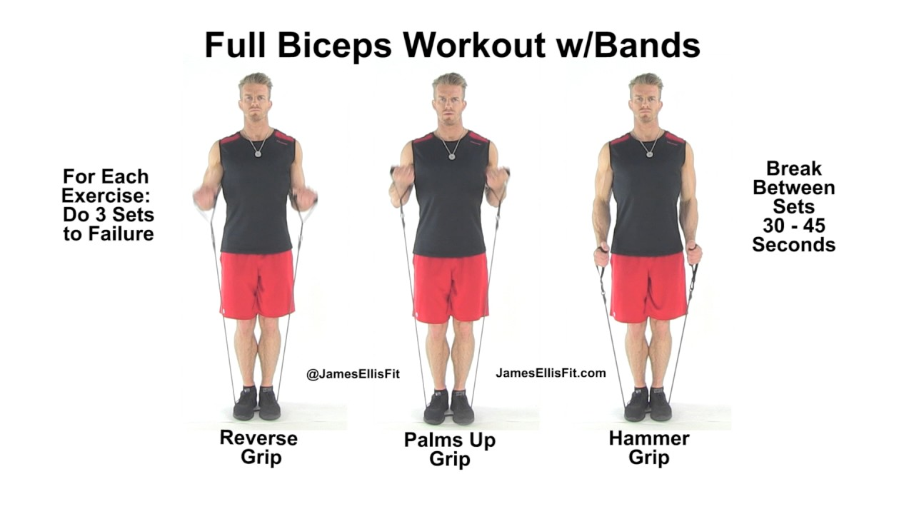 Complete Biceps Workout Using Resistance Bands Youtube