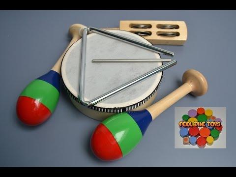 Instrumentos musicales para niños y sus sonidos. Set de percusion