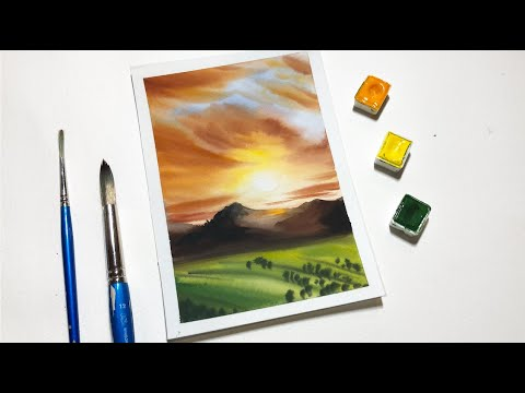 Watercolor Painting For Beginners Easy Sunset Field Painting Tutorial thumbnail