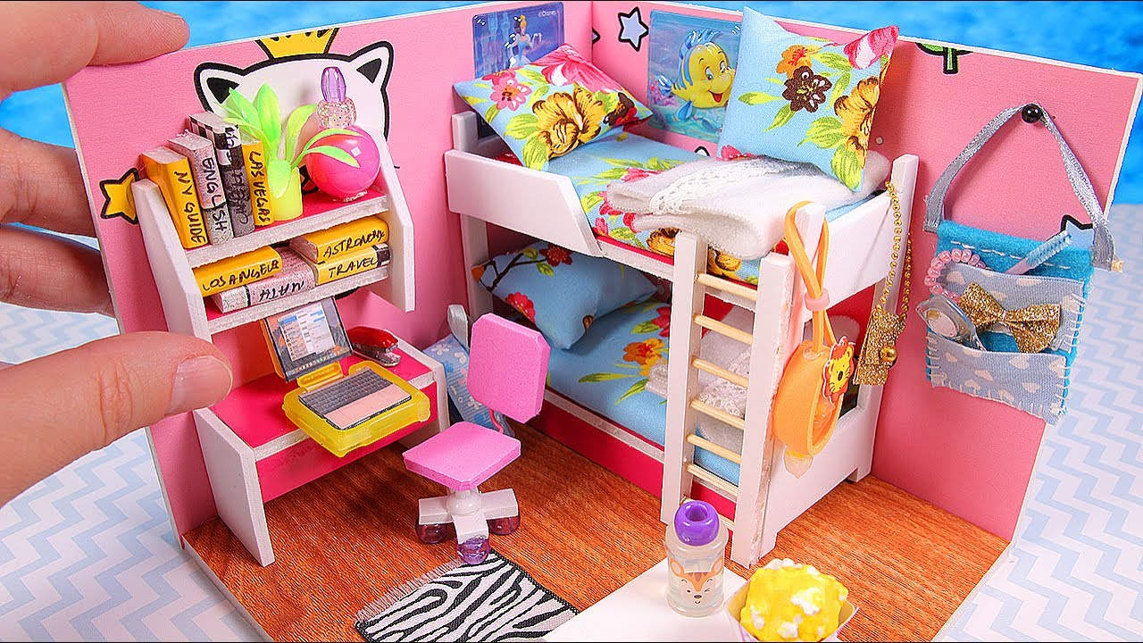 Barbie Bedroom In A Box: DIY Miniature Girl Dollhouse Room (Part I)