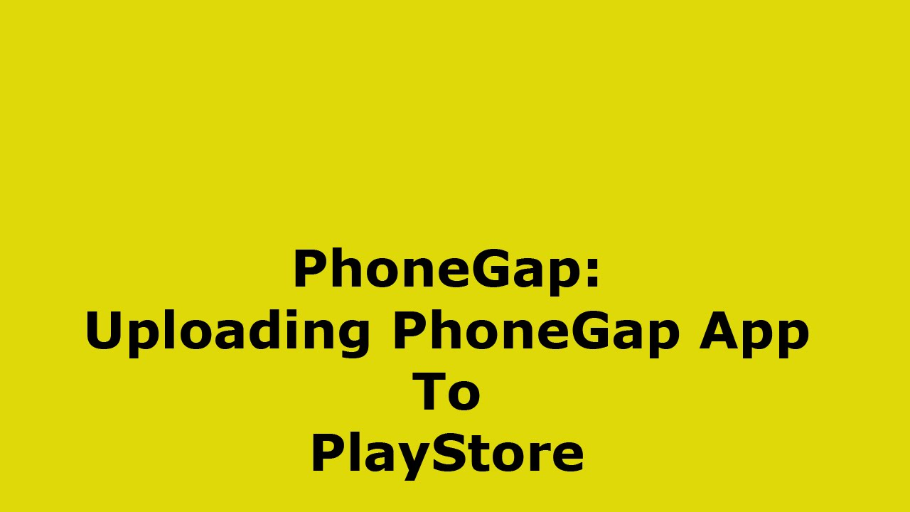 How to publish phonegap app to playstore