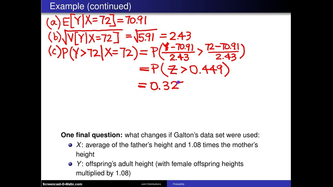Bivariate Normal Distribution Example 1 Youtube
