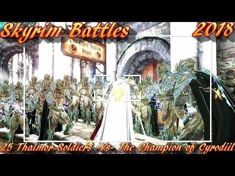 Skyrim Battles - 25 Thalmor Soldiers vs The Champion of Cyrodiil [Legendary Settings]