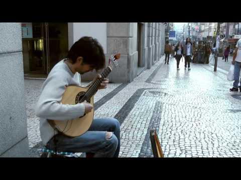 Street Player of Portuguese Guitar in Porto, Portugal