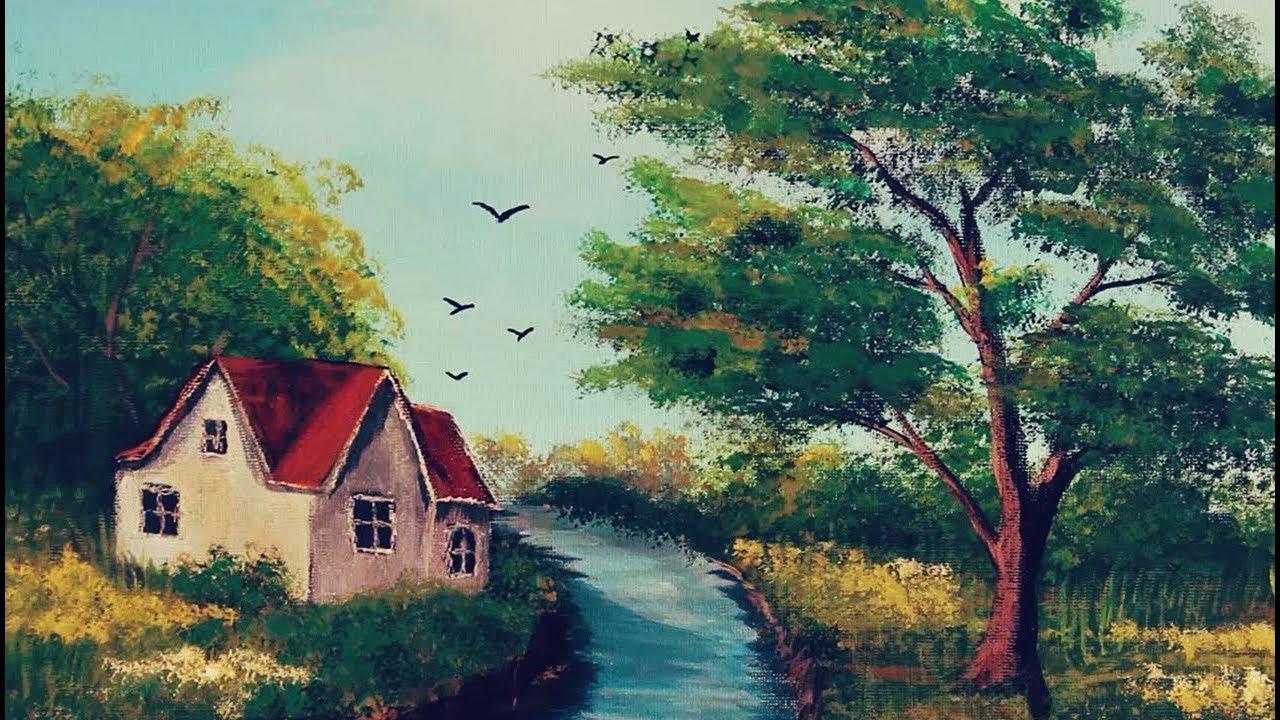 رسم لوحات فنية رسم منظر طبيعي بالوان الاكريليك How To Paint
