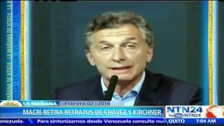 Gobierno de Mauricio Macri retira cuadros de Néstor Kirchner y Hugo Chávez de la Casa Rosada