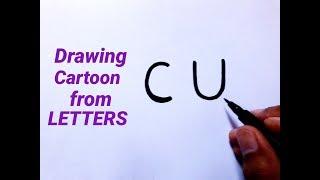 Cómo dibujar un personaje de dibujos animados fácil de letras CU Dibujo/cómo dibujar caricaturas para niños principiantes