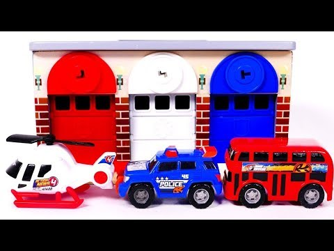 Garage Parking Playset Learn Colors with Helicopter Police Car and Bus Kinder Surprise Eggs For Kids