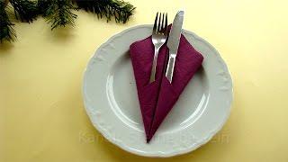 Servietten falten einfach: Bestecktasche falten - DIY Tischdeko - Weihnachtsdeko