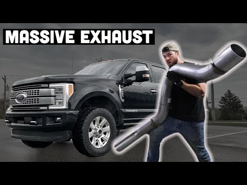Ford F250 Powerstroke Gets a HUGE 5 inch Exhaust - Exhaust Sound