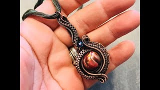 Twisted Flame wire wrap pendant