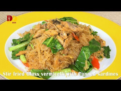 Stir Fried Glass Vermicelli with Canned Sardines | Thai Food | Woonsen Pad Pla Kapong - วันที่ 02 Feb 2018