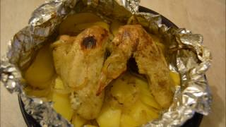 Кусочки курицы и картофель в фольге(самый простой рецепт)/Chicken pieces and potatoes in foil