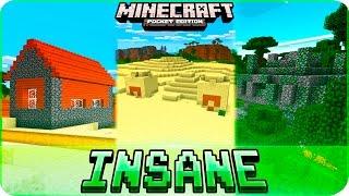 Minecraft PE Seeds - INSANE LOOT! 3 Villages, 2 Desert Temples & Jungle Temple! MCPE 1.0.4 1.0