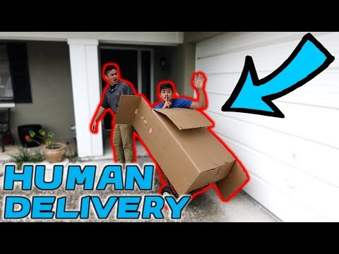 DELIVERING HUMAN IN CARDBOARD BOX TO STRANGERS HOUSES **COPS CALLED US**