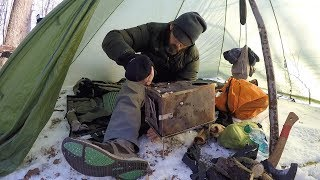 Hot Tent Wood Stove Bushcraft Overnight winter survival Backpacking. re-edit