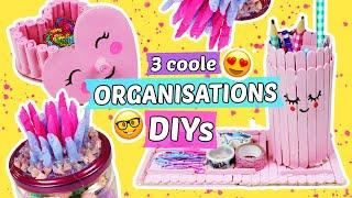 3 coole ORGANISATIONS DIYS 📚Stiftehalter & Boxen selber machen 🌟DIY Schulsachen