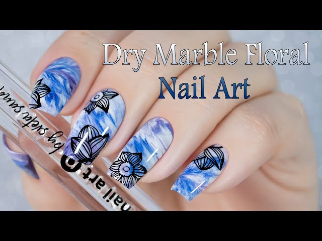 Dry Marble Floral Nail Art