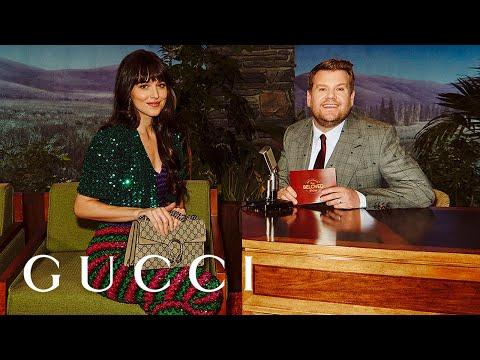 Dakota Johnson and James Corden on The Beloved Show. #GucciBeloved