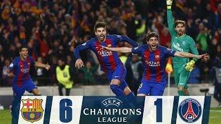 FC Barcelona 6 - 1 PSG ( Barca !! God OF Football !! 2017 )  highlights