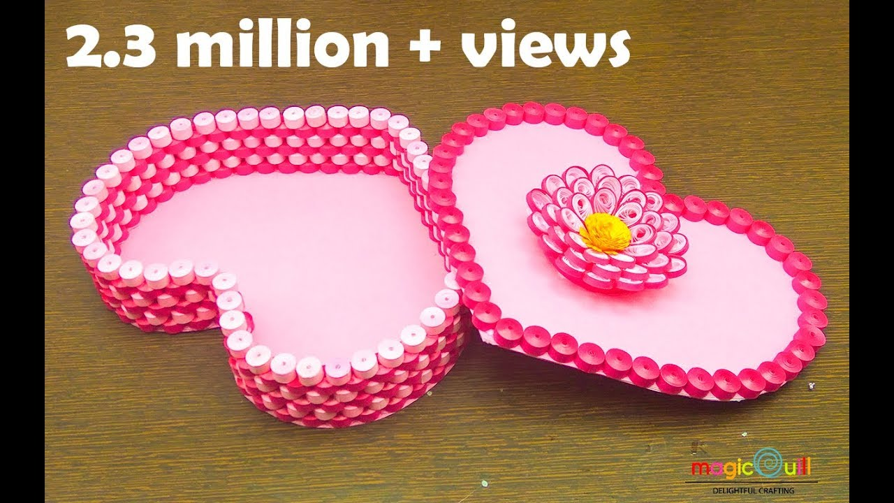 How To Make Paper Quilling Gift Box:  DIY heart for valentine ,Design