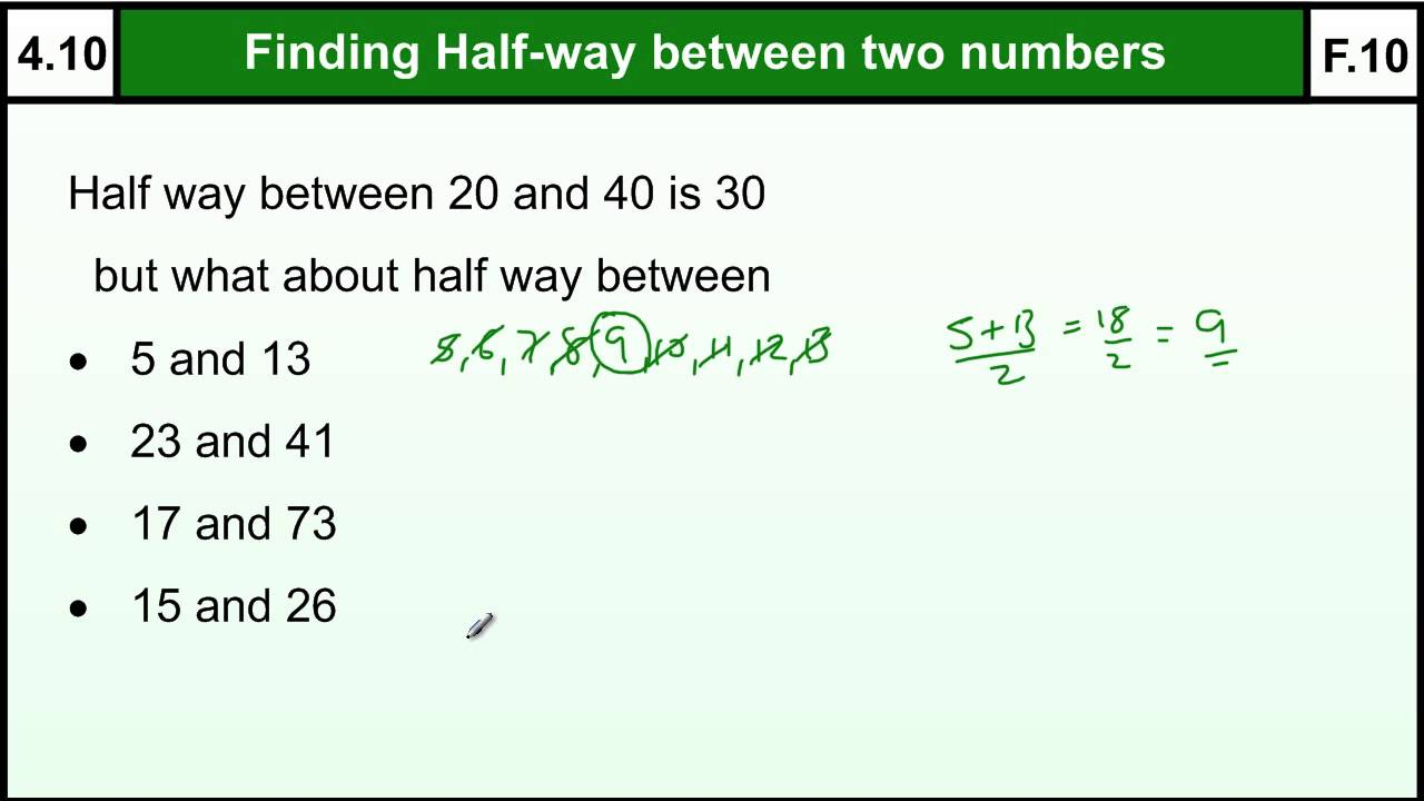 4.10 Halfway(Midpoint) between two numbers - quick method - Basic ...