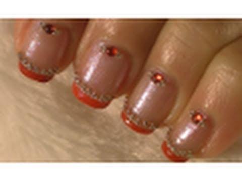 simple elegant red nail art tutorial / arte para las uñas