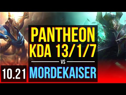 PANTHEON vs MORDEKAISER (TOP) | KDA 13/1/7, 1500+ games, Legendary | KR Master | v10.21