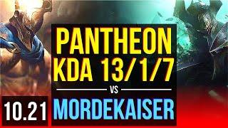 PANTHEON vs MORDEKAISER (TOP)   KDA 13/1/7, 1500+ games, Legendary   KR Master   v10.21