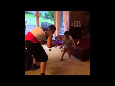 Chris Weidman wrestling with kid