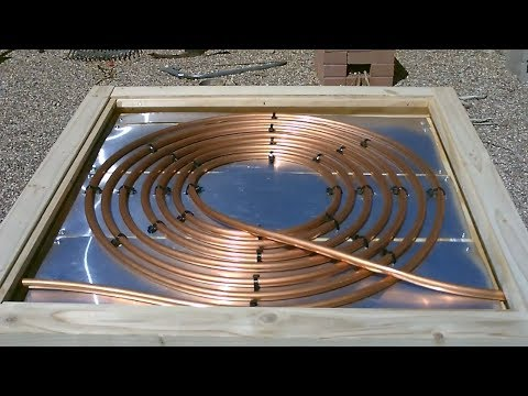 "DIY Solar Water Heater! - Deluxe ""Aluminum backed"" COPPER COIL Solar Water Heater! 175F Full Instr."
