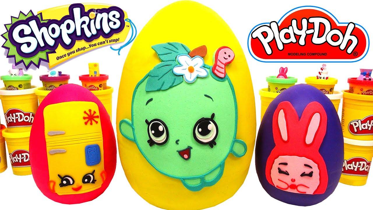 Ver 3 Huevos Sorpresas Gigantes de Shopkins en Español de Plastilina Play Doh en Español