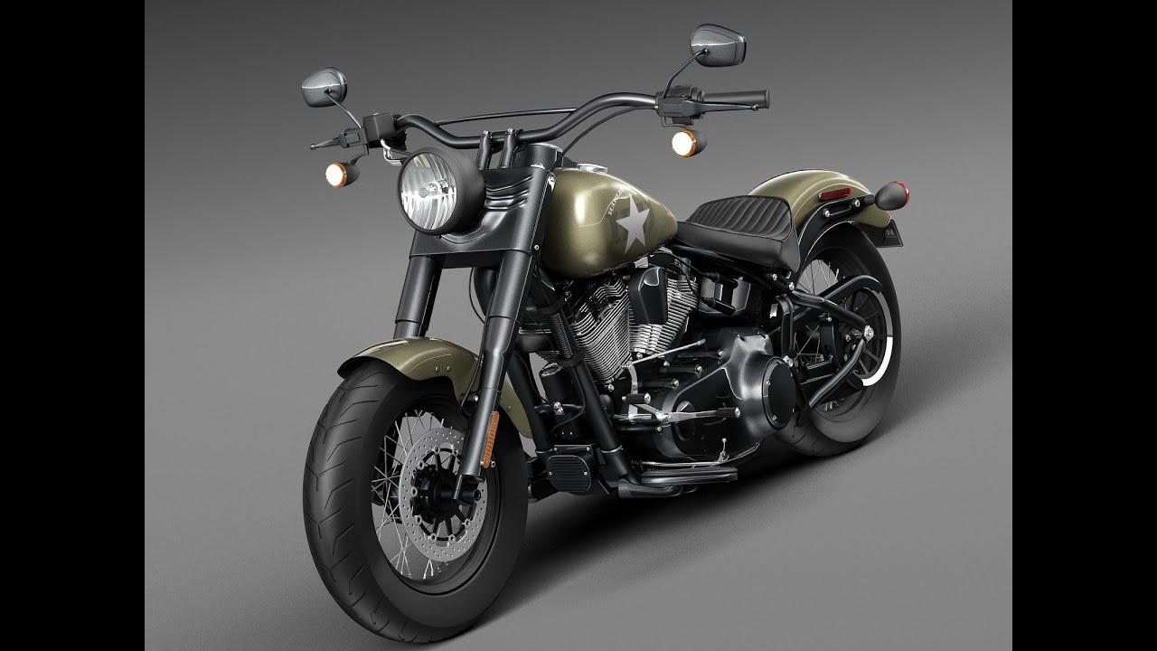 Harley Davidson Army: 3D Model: Harley Davidson Softail Slim S Army Design 2016