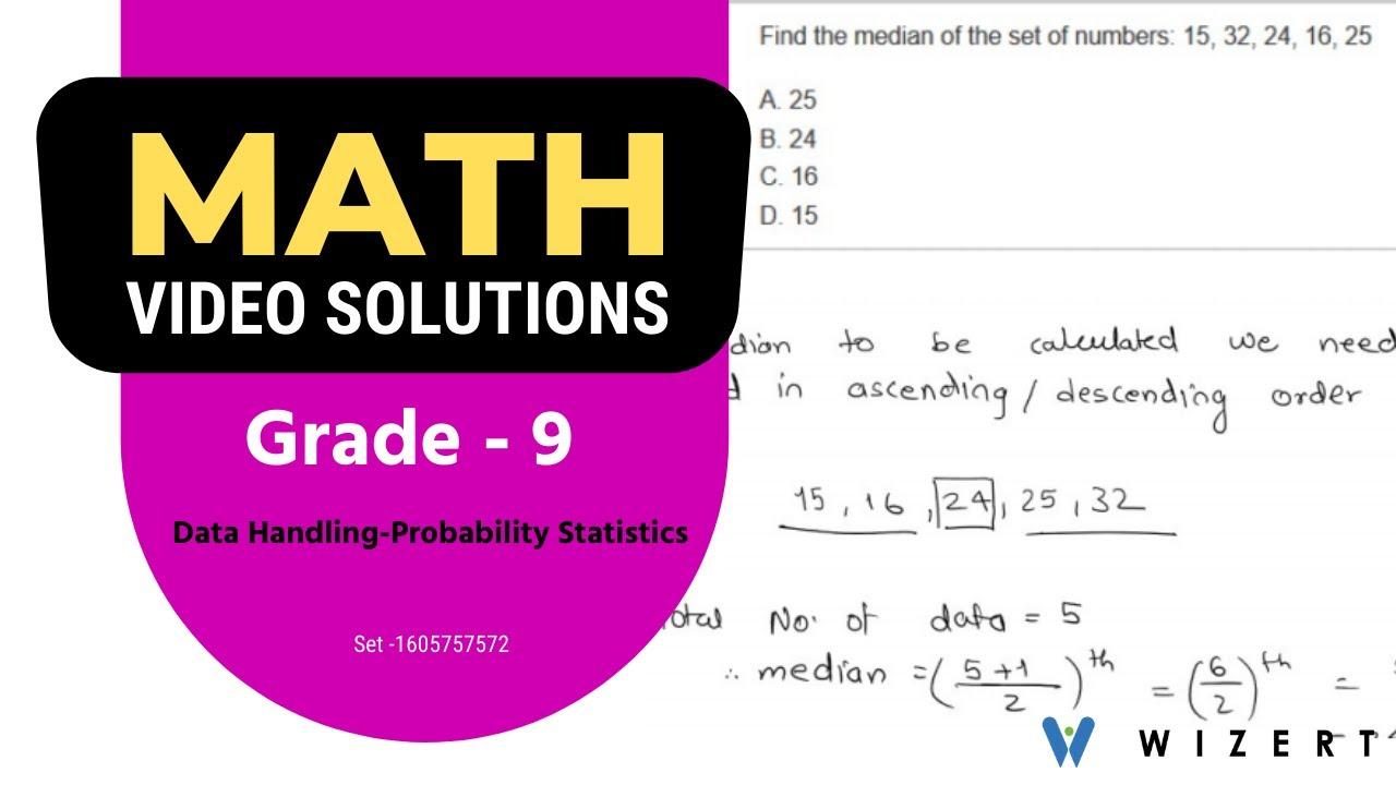 Math Tests for Grade 9 - Grade 9 Data Handling –Probability And Statistics  worksheets-Set 1605757572 - YouTube [ 720 x 1280 Pixel ]