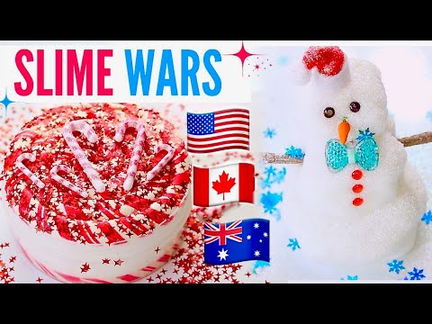 Slime War! USA VS Australia VS UK VS Canada Slime Package 100% Honest Christmas REVIEW