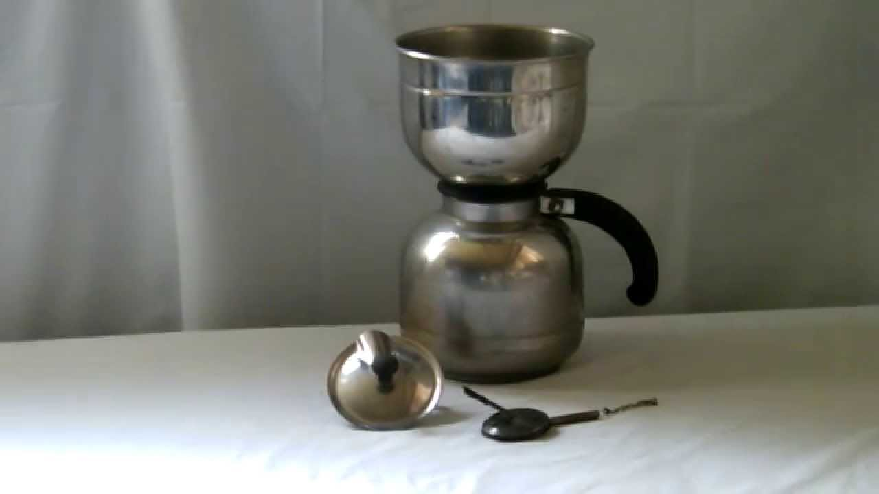 Vacuum Coffee Maker Metal : VINTAGE NICRO STAINLESS STEEL VACUUM COFFEE MAKER POT - YouTube