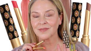 Gucci Rouge De Beaute Brilliant Glow & Care Lipstick - Linnet Stone & Emmy Petal Comparisons
