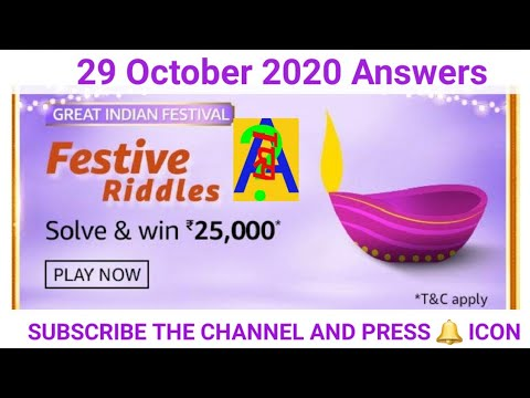 Amazon Festival Riddles Quiz Answers 29 October 2020 Festival Riddles Quiz Youtube