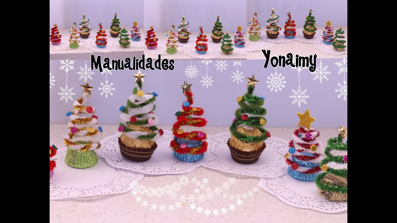 Arbolitos navide os hechos con limpia pipas y chocolates for Manualidades souvenirs navidenos